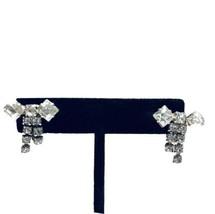 Vintage Crystal Rhinestone Bow Clip On Earrings Silvertone Art Deco K747 - $16.14