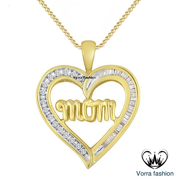 "Round Cut Diamond Yellow Gold 925 Silver Mom Heart Pendant W/ 18"" Chain Necklace"