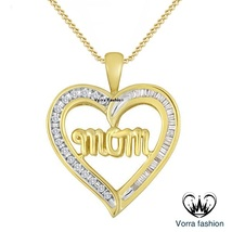 Simulated diamond 14k yellow gold over mom heart pendant 18  chain necklace thumb200
