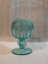 Vintage Northwood Blue Glass Beaded Panel Cupped Rose Bowl Vase - $15.84