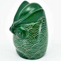 Vaneal Group Hand Carved Kisii Soapstone Green Owl Figurine Handmade in Kenya image 2