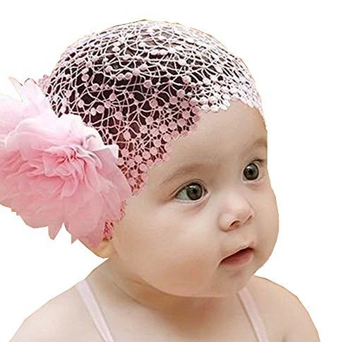 Beautiful Baby Girl Headband Cute Lace Flower Apparel Accessory Pink (1~4Y)