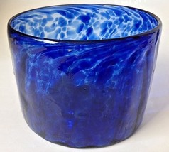 "Hand Blown Cobalt Blue Frit Art Glass Bowl Spatter Speckled Unsigned 5"" - $38.95"
