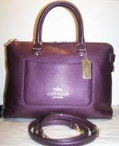 Coach F38058 Emma Pebble Leather Satchel handbag Metallic Raspberry NWT ... - $148.45