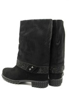 Goody2Shoes Ladies Black Suede and Pony Hair Fold Over Calf Length Boots - $190.92