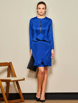 Royal Blue Designer Pencil Flounce Dress Size Choice S M XL 2XL - $16.30