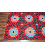 Rug USA 5' x 8' Suzani Red Pattern Handmade Tufted 100% Woolen Persian R... - $177.21