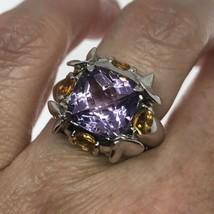 Vintage Purple Amethyst Ring Citrine 925 Sterling Silver Size 6.5 - $163.35