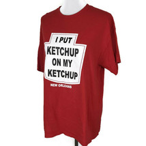 Ketchup Mens Shirt Size Large L Red White Cotton Tee I Put Ketchup on my Ketchup - $20.90