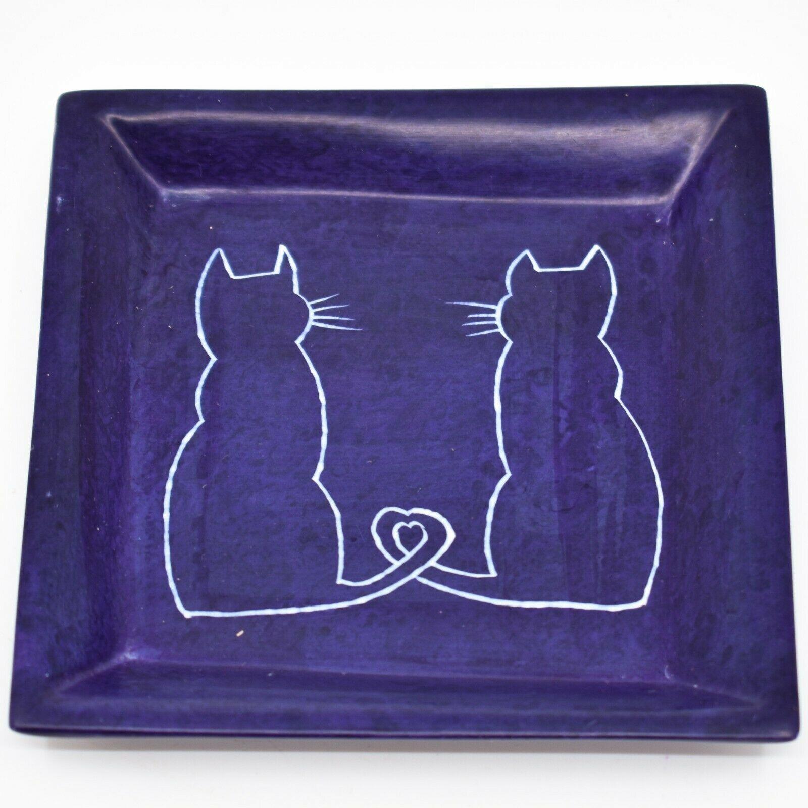 Vaneal Group Hand Carved Kisii Soapstone Cat Kitten Square Trinket Dish Kenya