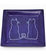 Vaneal Group Hand Carved Kisii Soapstone Cat Kitten Square Trinket Dish ... - $15.83