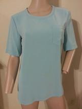 NWT St. John Pool Blue Short Sleeve Silk Feel Top Blouse S P $295 - $121.59