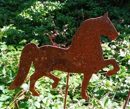 Rusty Horse Silhouette Trotting Garden Stake Lawn Ornament - Amish Made ... - $12.00