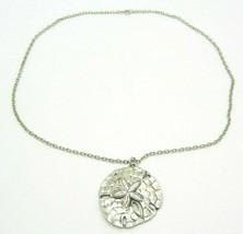 Large Sand Dollar Silver Tone Pendant Necklace Vintage - $19.79
