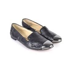 Sam Edelman Snake Skin Embossed Black Leather Cap Toe Smoking Flats Womens 9.5 - $38.60