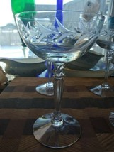 4 CRYSTAL ETCHED CHAMPAGNE GLASSES   BEAUTIFUL STEMS  - $18.80