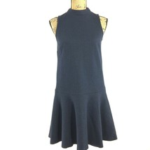 Ann Taylor LOFT Dress XXS P Navy Blue Gray Pin Stripe Fit Flare Drop Wai... - $22.95