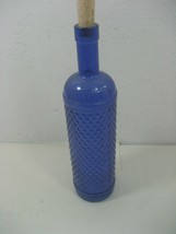 Vintage Cobalt Blue Bottle Diamond Pattern With Cork Stopper 750M - $15.85