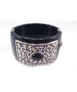 NWT BRIGHTON bold wide chunky black silver bangle bracelet $94 designer ... - $63.04