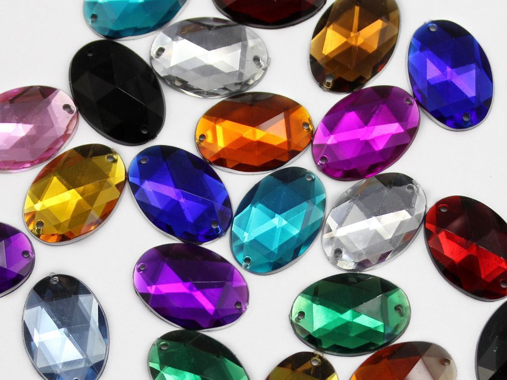 18x13mm Gold Topaz CH16 Oval Flat Back Sew On Gems For Craft 50 PCS