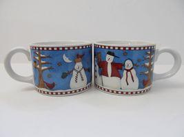Sakura Debbie Mumm Snowman Mugs Coffee Cups Lot Of 2 Excellent - $26.68