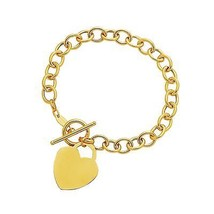 Toggle Bracelet with Heart Charm in 14k Yellow Gold Quality Jewelry Unique - $676.03