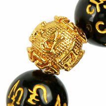 Ethnic Gold Six-Word Admonition Lucky Black Obsidian Feng Shui Pixiu Bracelet image 3