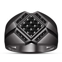 Rhodium Finish 925 Sterling Pure Silver Black Diamond Mens Anniversary R... - $102.99