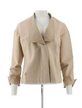 Halston Ponte Knit Jacket Leather Lapel Cuffs Pockets Sand Dune 10 NEW A... - $89.08