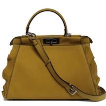 New $5500 Fendi Peekaboo Regular Nabuk Leather Palladium Wave Trim Bag - $4,506.04