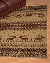 Lodge Cabin Moose Rustic Pine Area Rug **FREE SHIPPING** - €47,94 EUR+