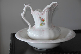 Pitcher Wash Bowl C.60's-70's White Rose Ceramic Vintage Victorian Reproduction - $99.99