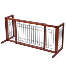 Wood Dog Gate Adjustable Indoor Solid Construction Pet Fence Playpen Fre... - $63.99