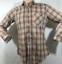 Vintage 70s LEVIS Button Plaid Farm Work Shirt USA Blue White Label Larg... - $29.02