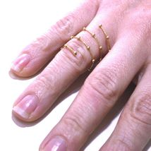 18K ROSE GOLD MAGICWIRE LONG FINGER RING, ELASTIC WORKED WIRE, SPHERES, SNAKE image 3