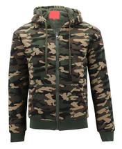 MX USA Men's Army Camo Zip Up Sherpa Hoodie Fleece Hunting Sweater Jacket image 2