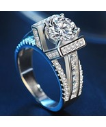 US ENGAGEMENT WEDDING RING SET 925 STERLING SILVER ZIRCON ORDER SZ 7 Or 8 - $17.82