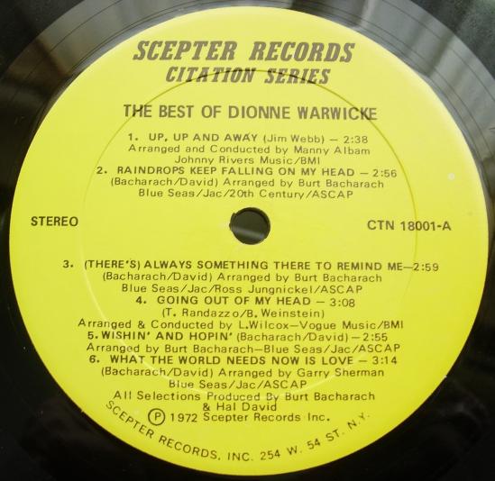The Best of Dionne Warwicke - Scepter Records CTN-18001
