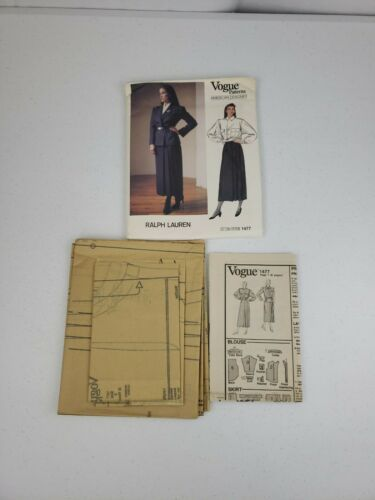 Primary image for Vogue 1477 Ladies Ralph Lauren Designer Suit Size 8 Sewing Pattern Cut