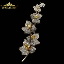 Charming Elegant Vine Plant Branch Yellow Flowers Brooch Gold Tone Micro Pave an - $24.09
