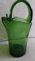 Nice Vintage Handmade Blown Art Glass Green MOD 1960s Crude Water Pitche... - $19.80