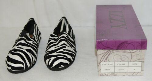 Izzy Mico Slip On Flat Rubber Sole Zebra Print Size Seven