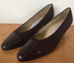 Vtg Etienne Aigner Ann Marie Brown Suede Leather Chunky Victorian Heels 8M 38.5 - $18.89