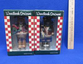 Jointed Santa Bear Woodlook Christmas Ornaments Resin NOS Set Of 2 - $14.10
