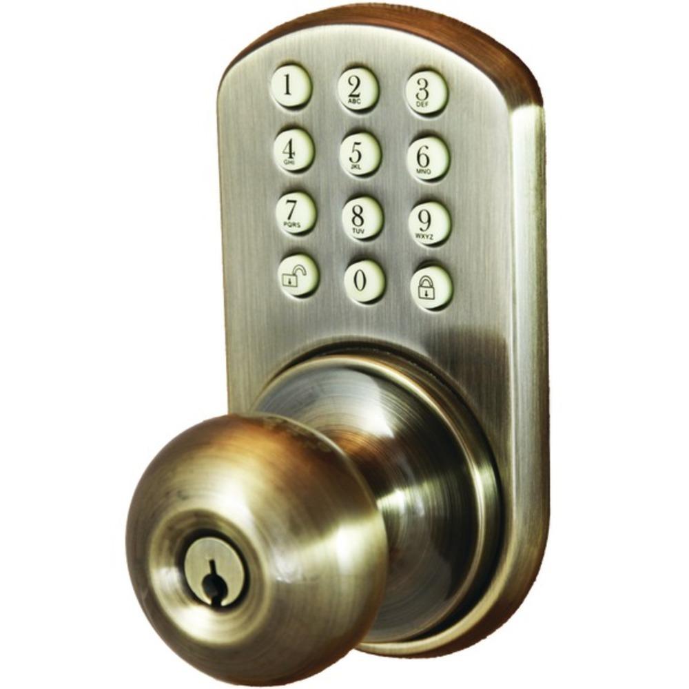 MiLocks HKK-01AQ Touchpad Electronic Doorknob (Antique Brass)