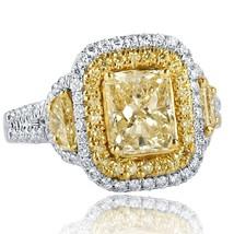 3 Carat Light Yellow Radiant Cut Half Moon Diamond Engagement Ring 18k White Gol - $6,632.01