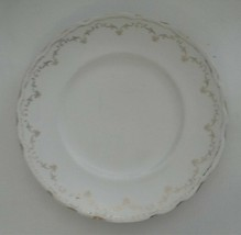 """Vintage Homer Laughlin Hudson 9"""" Dinner Plate Gold & White Scalloped Edge - $9.95"""