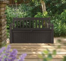 Outdoor Storage Bench Resin 70 Gal Patio Brawn Weather Deck Furniture Ga... - $118.79