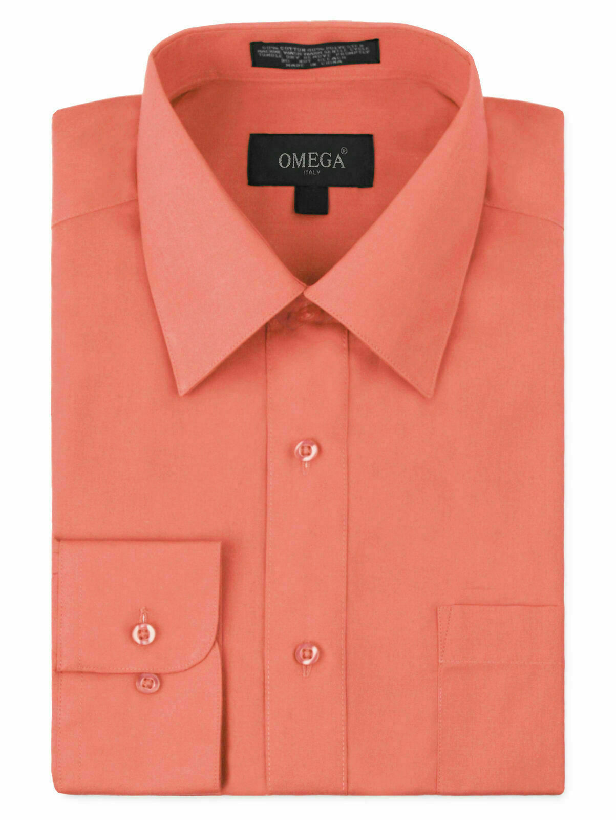 Omega Italy Men's Long Sleeve Solid Regular Fit Coral Dress Shirt - 4XL
