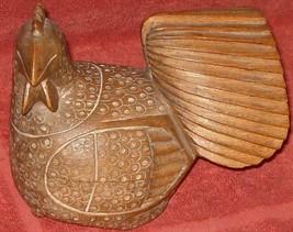 Vintage Wooden Chicken Figural Trinket Box - Solid Wood - Hand Carved De... - $79.19